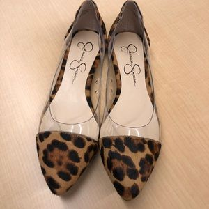 Jessica Simpson Leopard and Clear Flats 8.5M